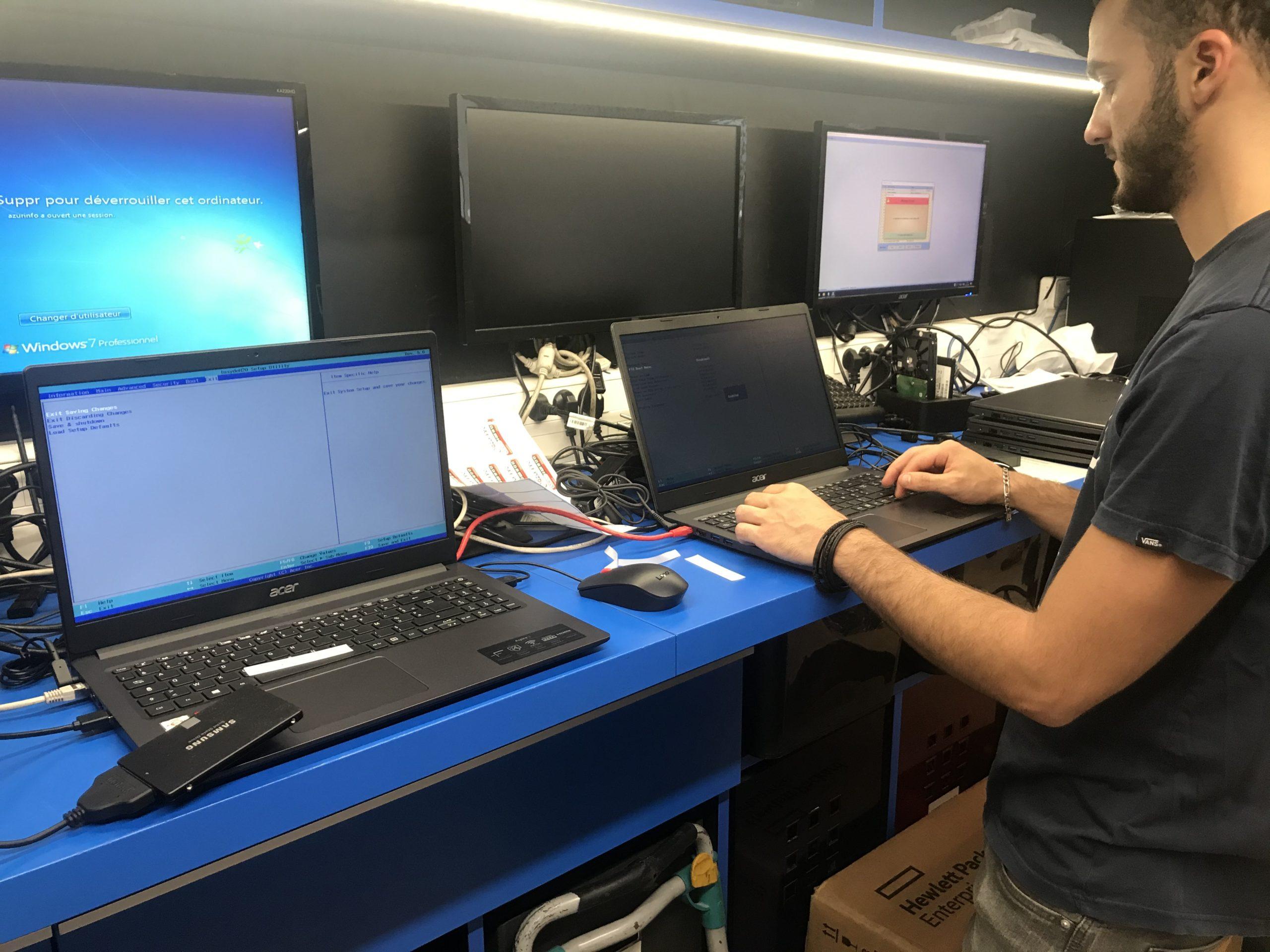 Configuration d'ordinateurs pour installation de 100 PC dans une école de la région.